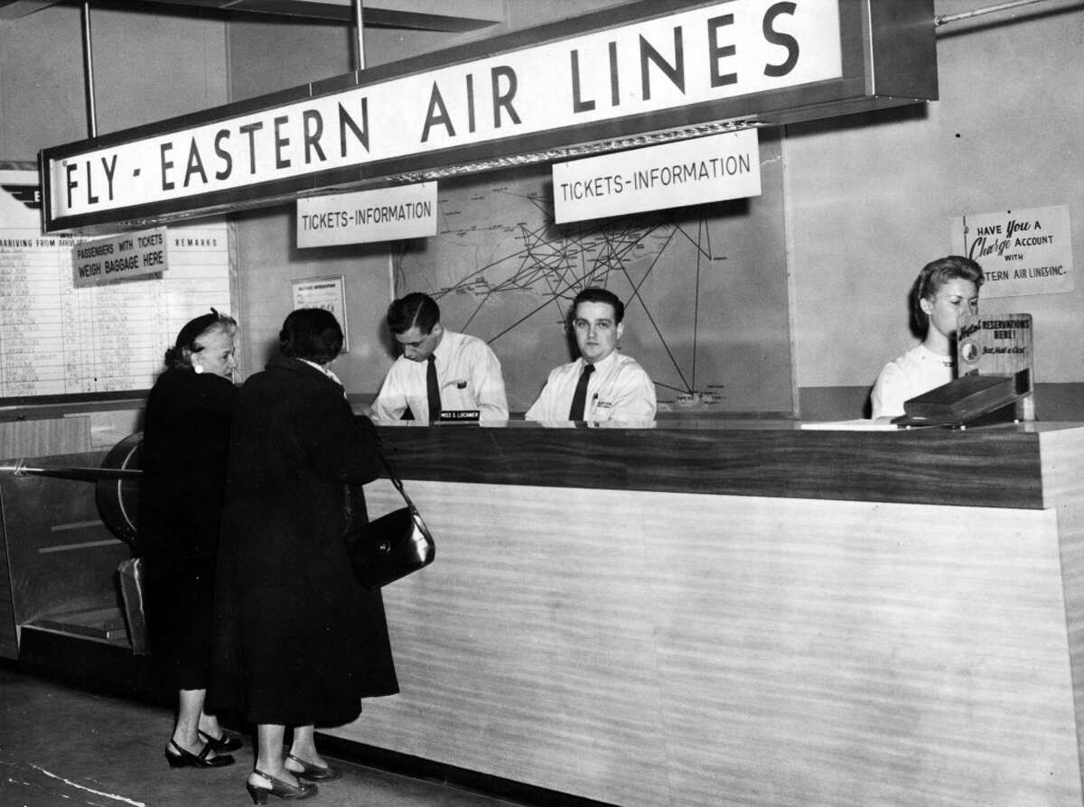 The Eastern Airlines ticket counter at Albany Airport in 1958.