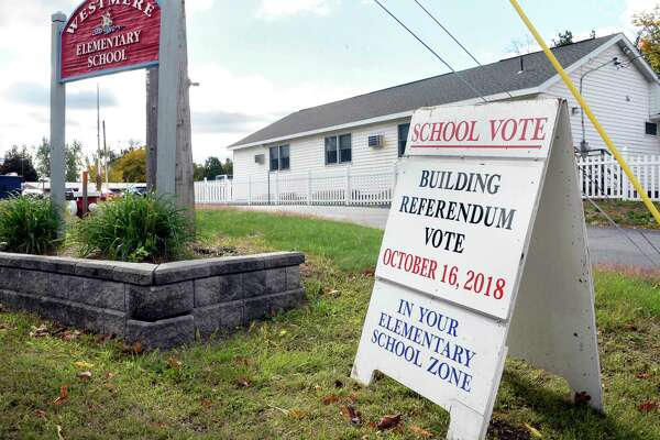 School vote sign for the Guilderland Central School District Capital improvement project at Westmere Elementary Schoolwith Tuesday Oct. 16, 2018 in Guilderland, NY. (John Carl D'Annibale/Times Union)