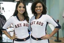 Astros' Shooting Star members pose for a photo before the third ALCS game on Tuesday, Oct. 16, 2018 in Houston.