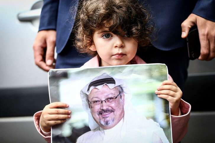 Activists protest the disappearance of prominent Saudi journalist Jamal Khashoggi in front of the Consulate General of Saudi Arabia in Istanbul, Turkey, on October 08, 2018.
