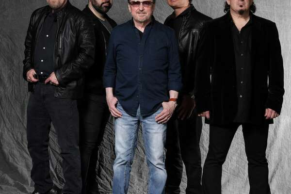 """Blue ?-yster Cult, Eric Bloom, left, Richie Castellano, Donald """"Buck Dharma"""" Roeser, Jules Radino and Danny Miranda, will perform at the Wall Street Theater in Norwalk on Oct. 31."""