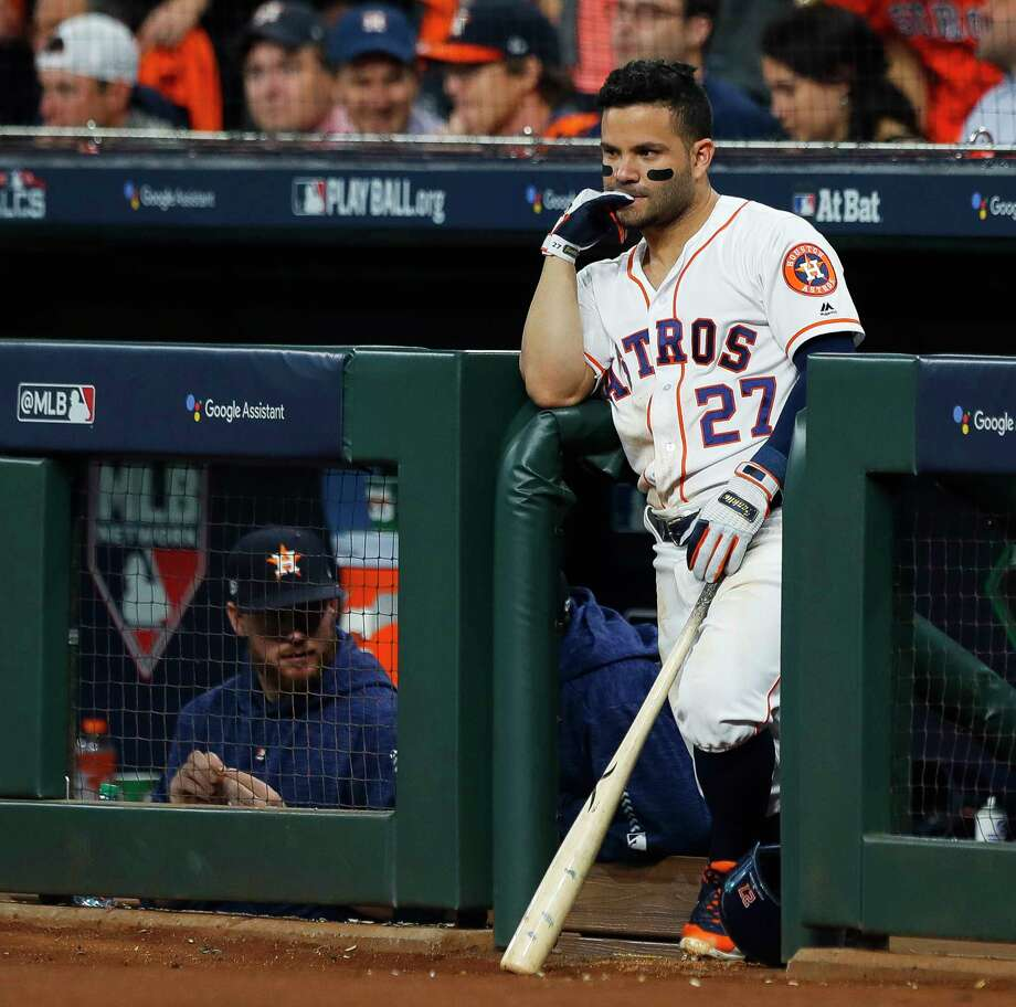 PHOTOS: The best comebacks in modern sports history Houston Astros Jose Altuve (27) watches the game from the dugout during Game 3 of the American League Championship Series at Minute Maid Park on Tuesday, Oct. 16, 2018, in Houston. >>>See some of the best comebacks in modern sports history... Photo: Brett Coomer, Staff Photographer / © 2018 Houston Chronicle