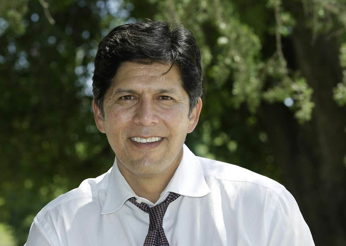 ADVANCE FOR RELEASE SATURDAY, OCT. 6, 2018, AND THEREAFTER - In this photo taken May 21, 2018, United States Senate candidate, state Sen. Kevin de Leon, a Democrat, poses at a rally at the University of California, Davis, in Davis, Calif. De Leon is challenging incumbent Democratic Sen. Diane Feinstein. (AP Photo/Rich Pedroncelli)