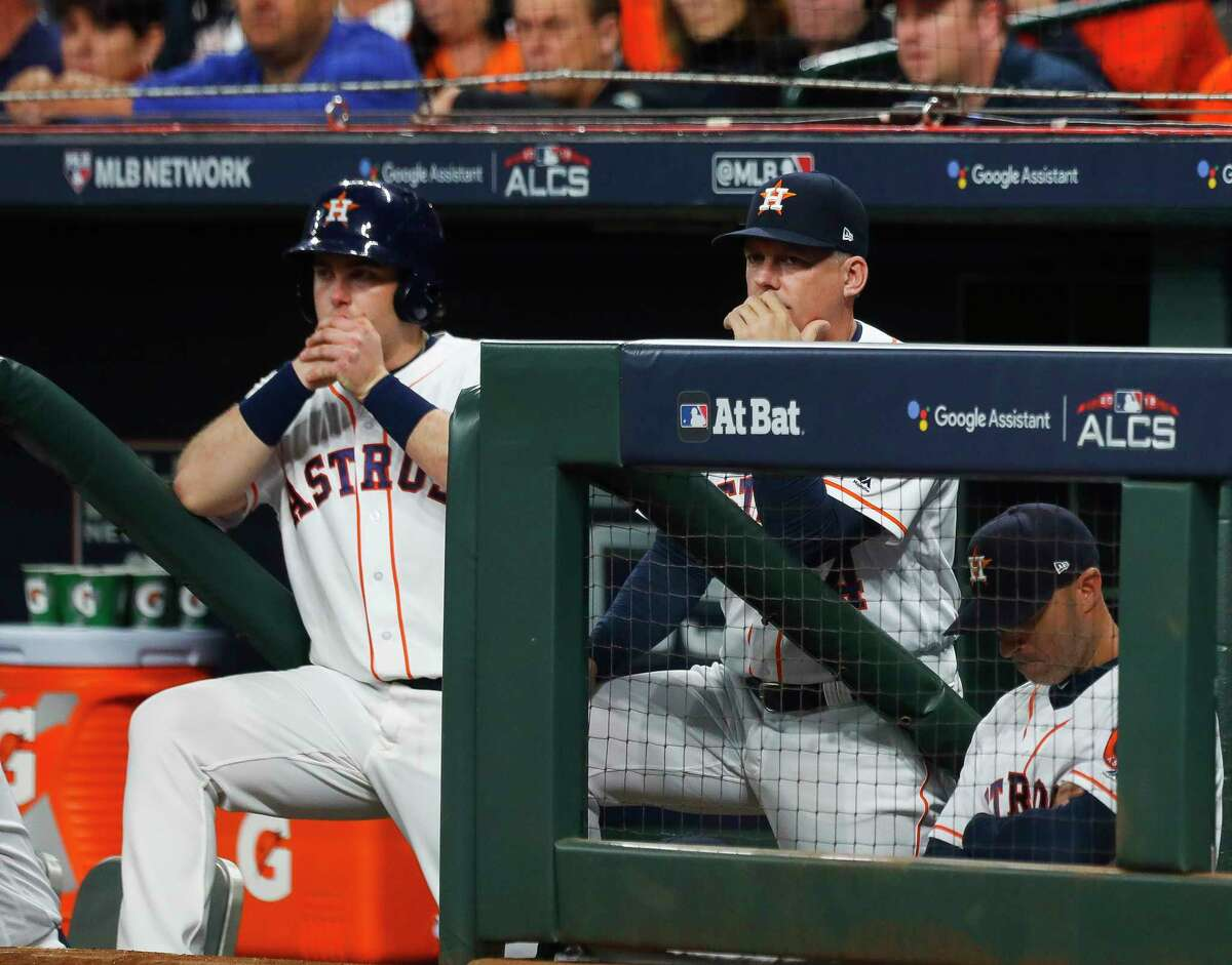 PHOTOS: A look at the Astros' Game 3 loss on Tuesday Houston Astros manager A.J. Hinch watches the fourth inning of Game 3 of the American League Championship Series at Minute Maid Park on Tuesday, Oct. 16, 2018, in Houston.