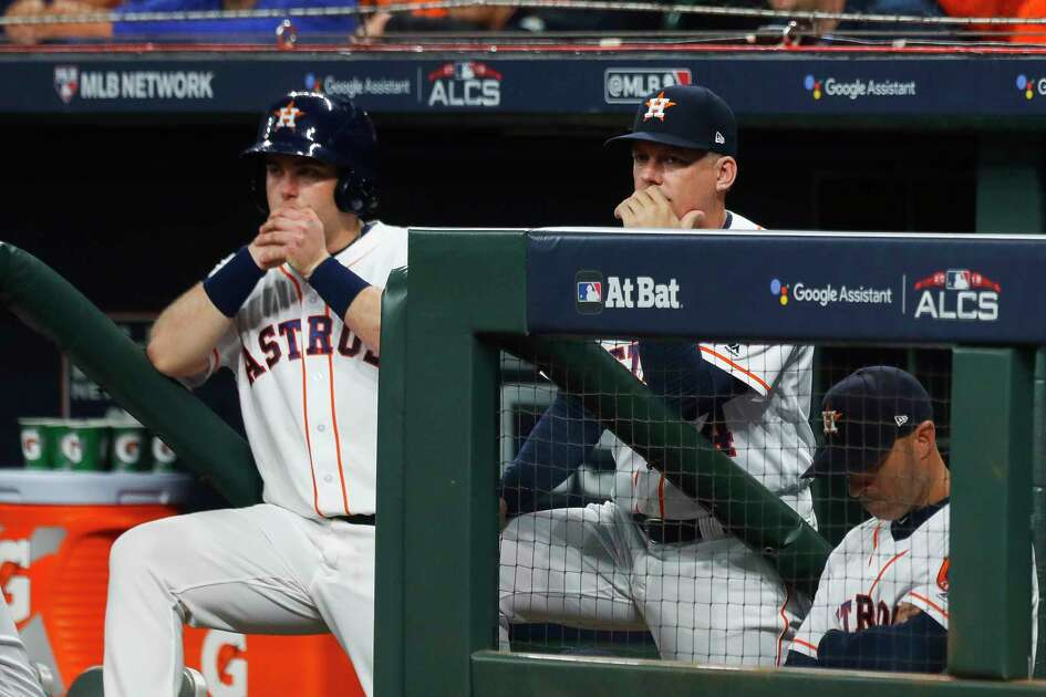 Houston Astros manager A.J. Hinch watches the fourth inning of Game 3 of the American League Championship Series at Minute Maid Park on Tuesday, Oct. 16, 2018, in Houston.