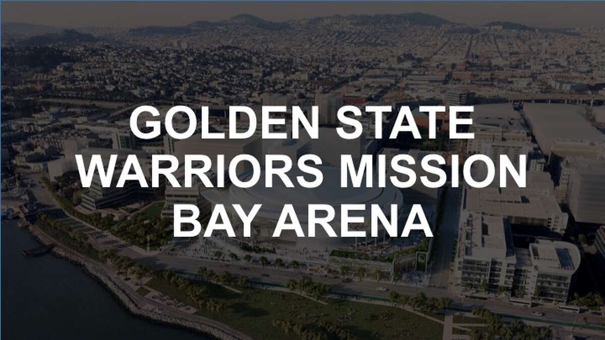 Rendering show the Golden State Warriors' proposed new arena in San Francisco's Mission Bay area.