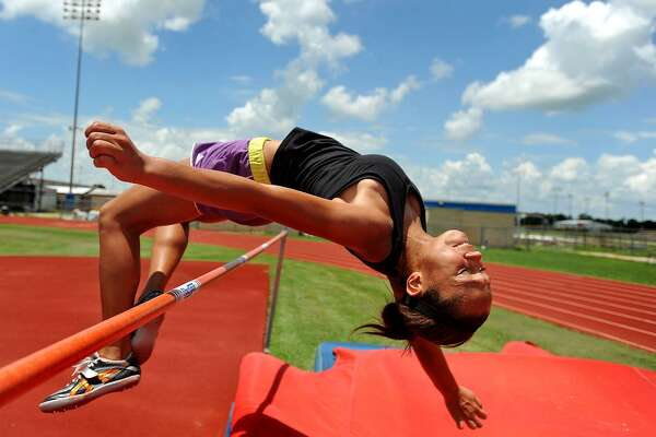 Alexus Henry, 14, practices the high jump on Wednesday. The Bridge City athlete will compete in the 2011 USATF Junior Olympic Track and Field Championships in late July. Guiseppe Barranco/The Enterprise