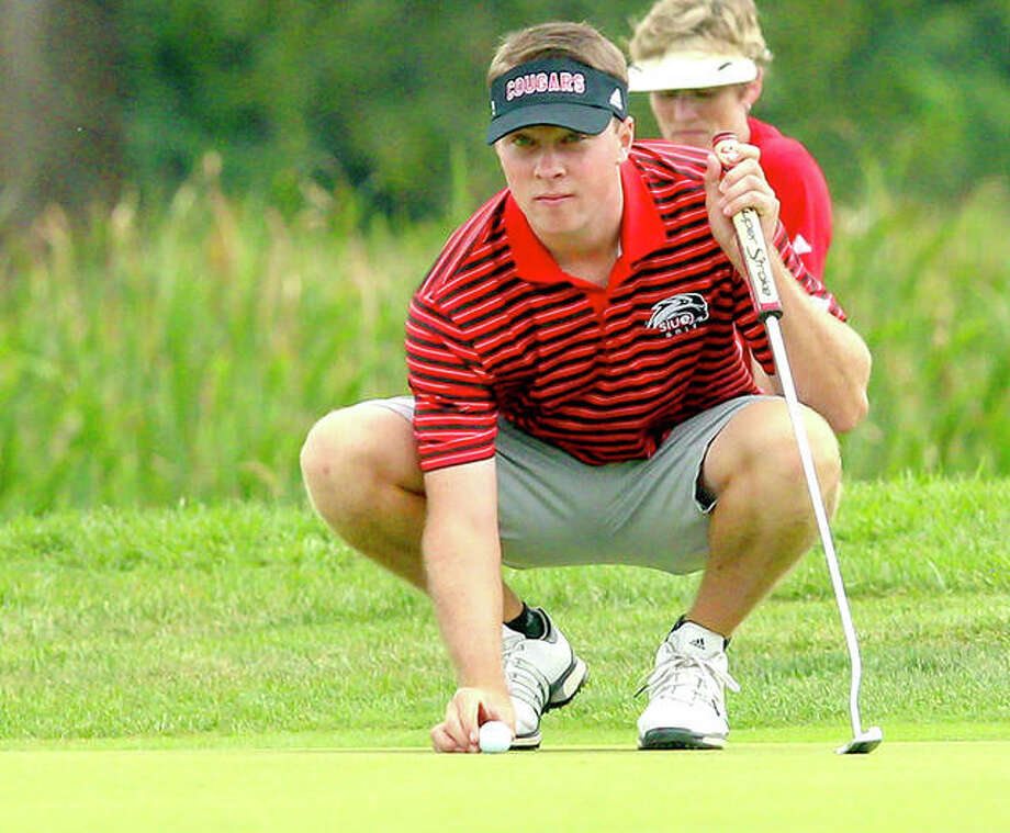Kyle Slattery of SIUE won his third tournament of the year, taking medalist honors at the F&M Bank APSU Intercollegiate Tuesday at Greystone Golf Club in Dickson, Tenn. He is shown in action earlier this year. Photo: SIUE Athletics