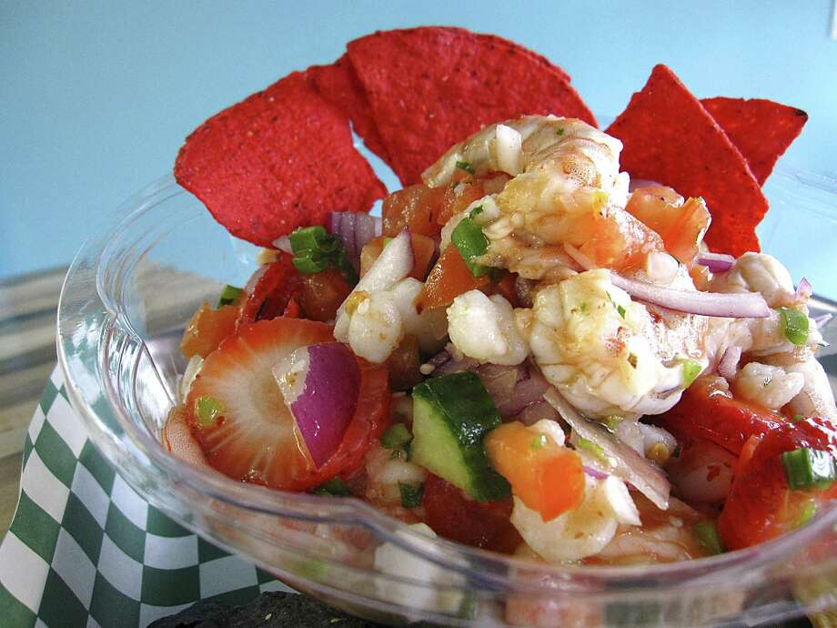 Custom Built Shrimp Ceviche With Strawberries Red Onions Pico De Gallo Cubers