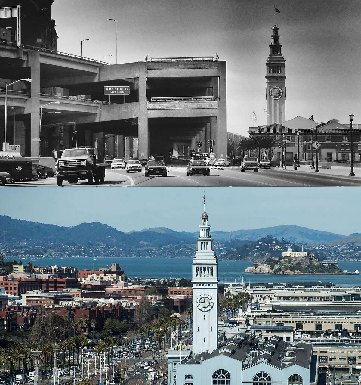 The Embarcadero Freeway, which was never finished and never connected the Golden Gate Bridge and the Bay Bridge, is seen on March 23, 1985. The Ferry Building photographed Tuesday, March 6, 2018 in San Francisco, Calif.