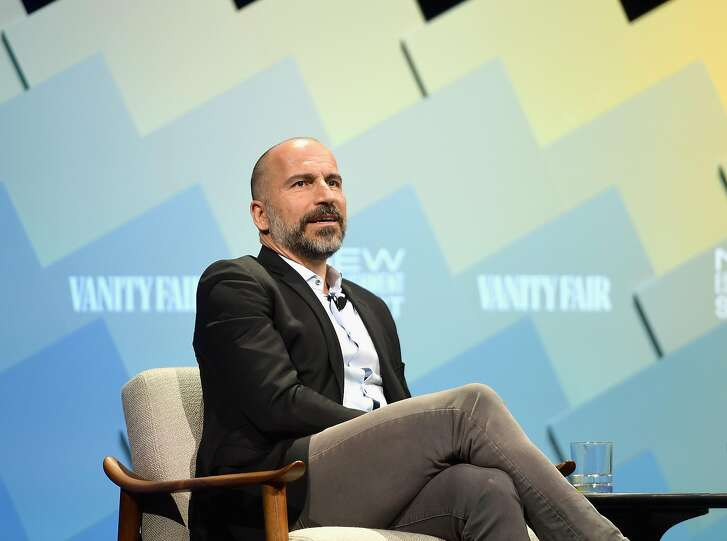 BEVERLY HILLS, CA - OCTOBER 09:  C.E.O of Uber, Dara Khosrowshahi speaks onstage at Day 1 of the Vanity Fair New Establishment Summit 2018 at The Wallis Annenberg Center for the Performing Arts on October 9, 2018 in Beverly Hills, California.  (Photo by Matt Winkelmeyer/Getty Images)