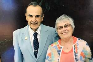 Photo displayed at funeral of Femia and her husband,      Fiore Femia