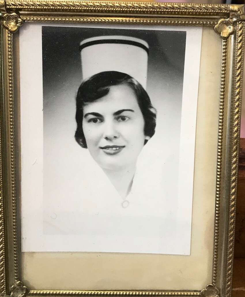 Photo of Mary Femia in 1958 graduating from St. Peter?'s nursing school.