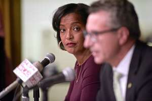 Democrat Jahana Hayes, left, and Republican Manny Santos, candidates for the 5th Congressional District in Connecticut, debate at the Portuguese Cultural Center in Danbury, Conn, on Tuesday night, October 16, 2018.