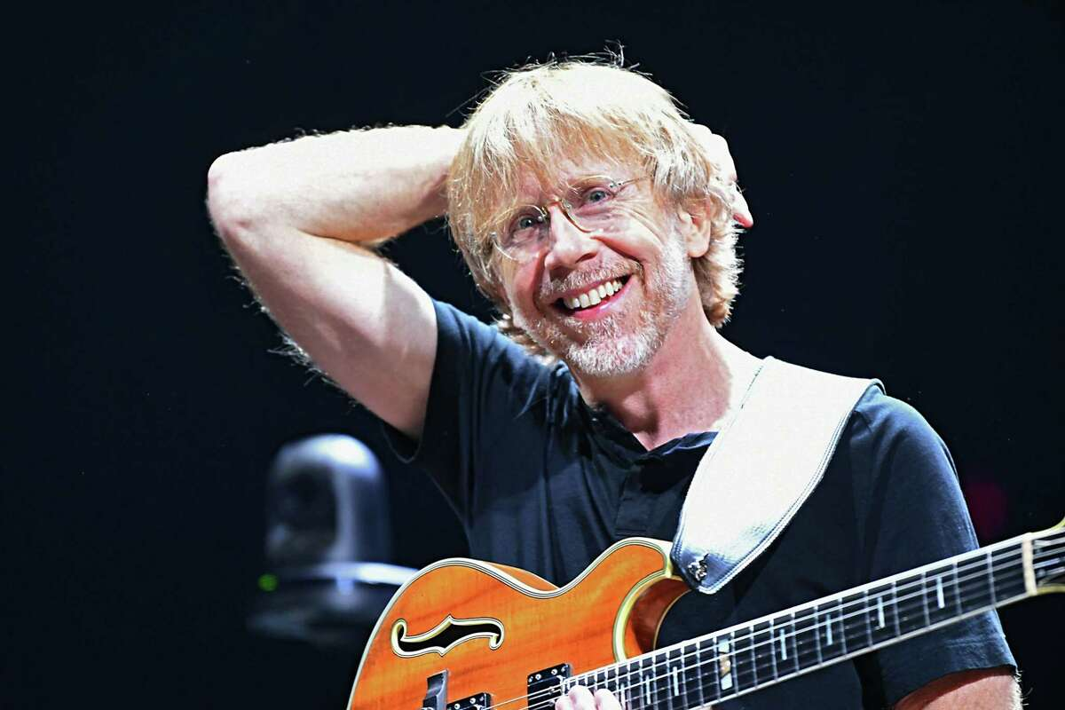 Lead vocalist and guitarist Trey Anastasio walks out on stage with his guitar as Phish performs at the Times Union Center on Tuesday, Oct. 16, 2018 in Albany, N.Y. (Lori Van Buren/Times Union)