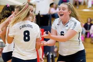 College Park's Annie Cooke (6), shown here in a match against The Woodlands earlier this season, had 25 assists, 16 digs, eight kills and three aces Tuesday evening at Klein Oak.