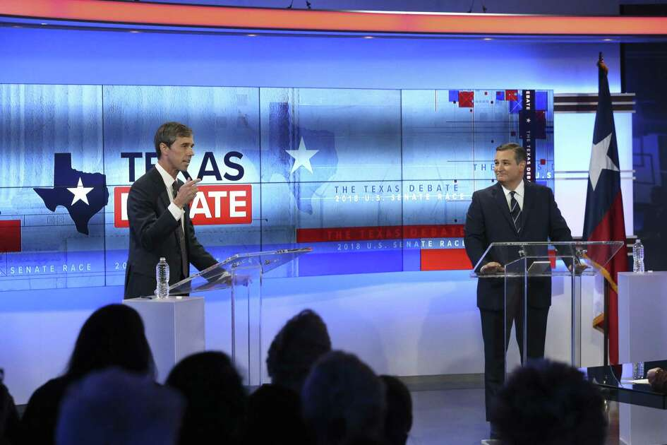 U.S. Senator Ted Cruz, R-Texas, faces U.S. Rep. Beto O'Rourke, D-El Paso, in debate at the KENS 5 Studios in San Antonio on October 16, 2018.