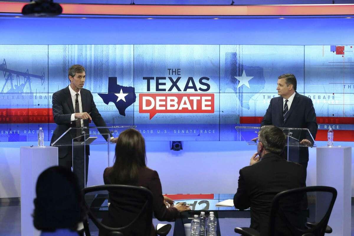 >>>See hilarious Twitter reactions to last night's debate. U.S. Senator Ted Cruz, R-Texas, faces U.S. Rep. Beto O'Rourke, D-El Paso, in debate at the KENS 5 Studios in San Antonio on October 16, 2018.