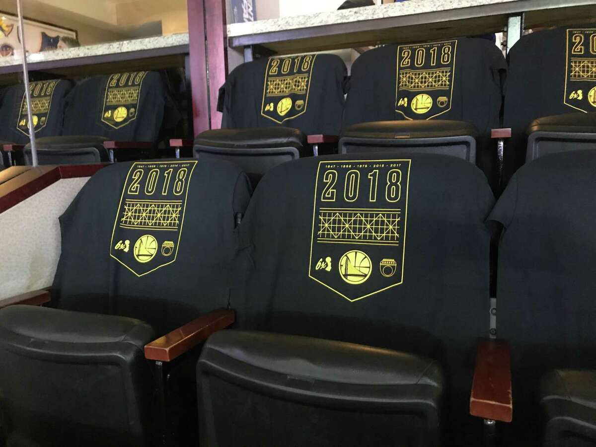 Complimentary t-shirts given to every seat holder at Oracle Arena before Golden State Warriors hosted the Oklahoma City Thunder during the opening night game in Oakland, Calif. on Tuesday, October 16, 2018.