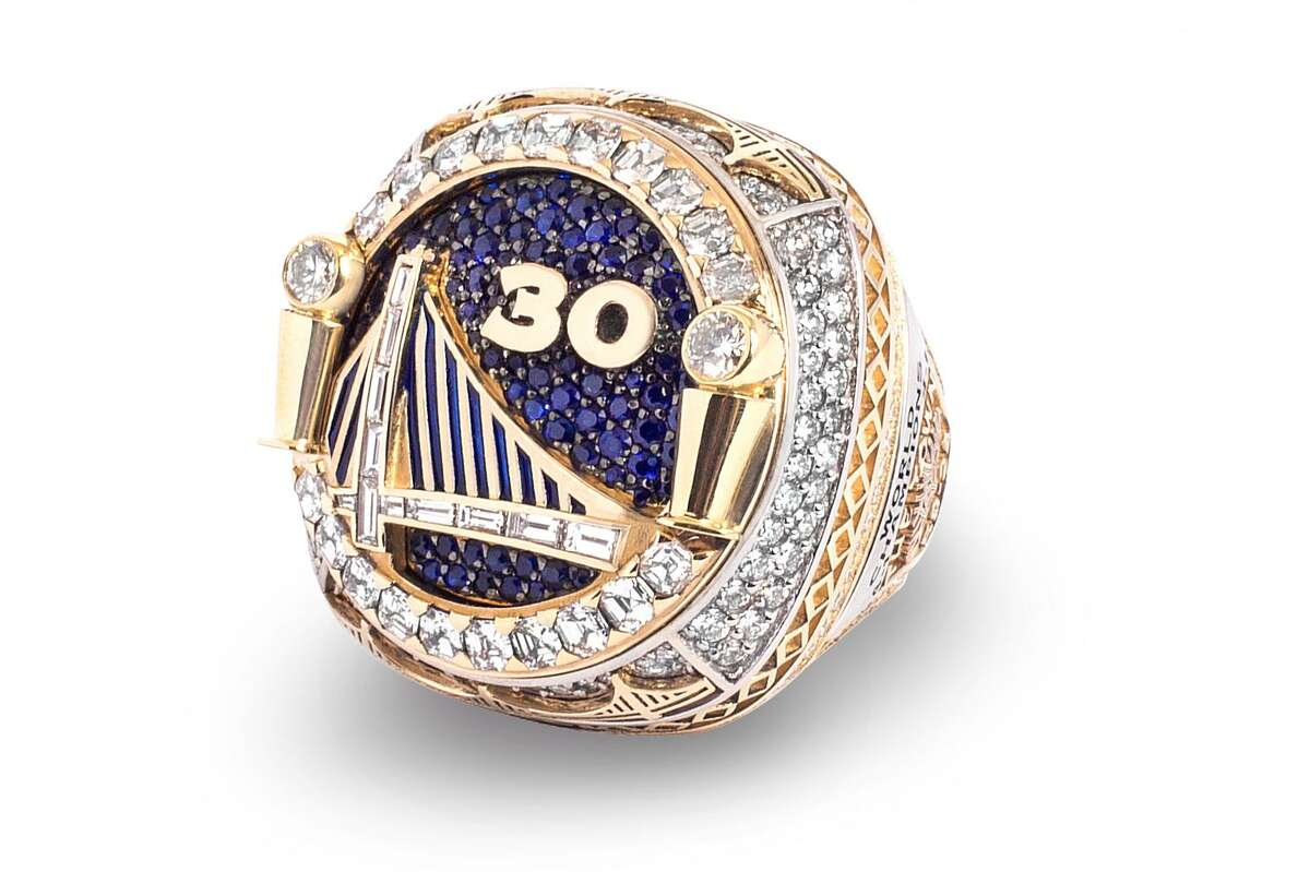 A detail of Stephen Curry's 2017- 2018 NBA Championship ring. The ring and banner ceremony was held during Opening Night game against Oklahoma City Thunder at Oracle Arena in Oakland, Calif. on Tuesday, October 16, 2018.