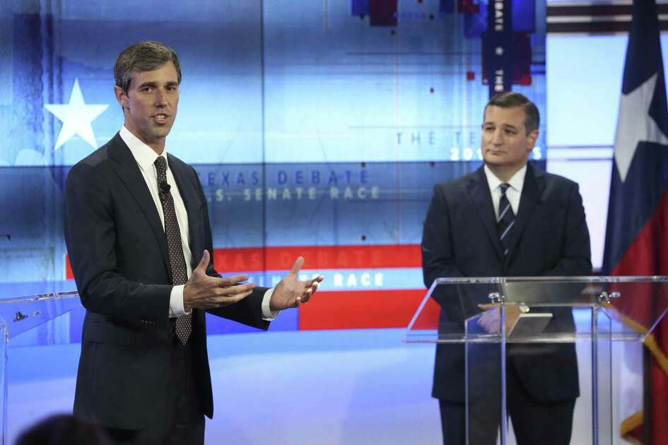 U.S. Senator Ted Cruz, R-Texas, faces U.S. Rep. Beto O'Rourke, D-El Paso, in debate at the KENS 5 Studios in San Antonio on October 16, 2018.