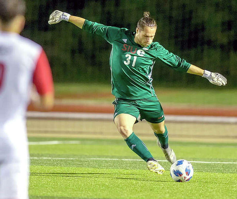 SIUE goalie Noah Heim made five saves in Tuesday night double-overtime 0-0 tie at the University of Evansville. Photo: SIUE Athletics