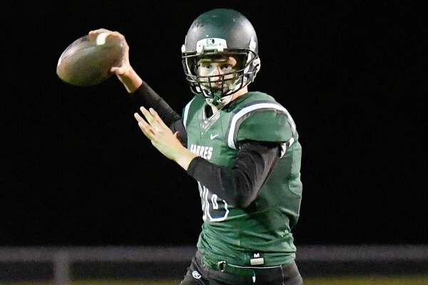 Schalmont quarterback Shane O'Dell (16) throws a pass against Hudson during a Section II Class B High School football game Tuesday, Oct. 16, 2018, in Colonie, N.Y. (Hans Pennink / Special to the Times Union)