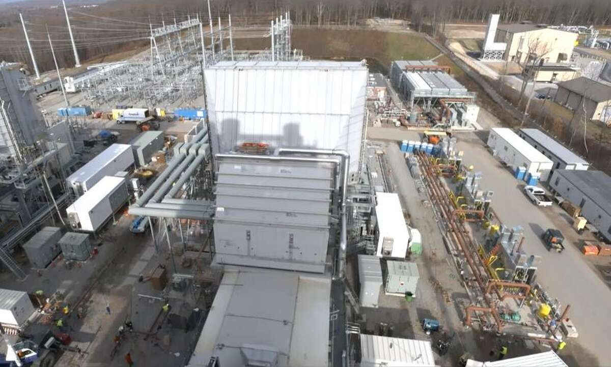 An aerial screen shot of the CPV Towantic Energy Center, with the Oxford, Conn. plant coming online in May 2018 according to developer Competitive Power Ventures. (Screenshot via Vimeo)