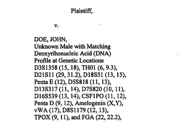 The criminal complaint against John Doe, Unknown Male With Matching Deoxyribonucleic Acid (DNA Profile.)