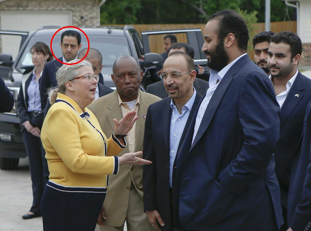 Maher Abdulaziz Mutreb, circled, is one of the 15 suspects in the disappearance of Jamal Khashoggi named by Turkish officials. He is seen traveling with Saudi Crown PrinceMohammed bin Salman earlier this year in Houston.
