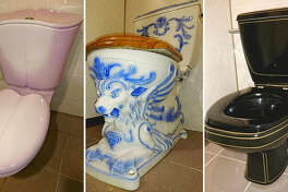 Some of the toilets at the Motorcar Museum of Japan: From left, a French toilet bowl with a cute heart-shaped lid; a toilet bowl with a sculpted head of a lion from Austria; and a toilet bowl from Germany in chic black.