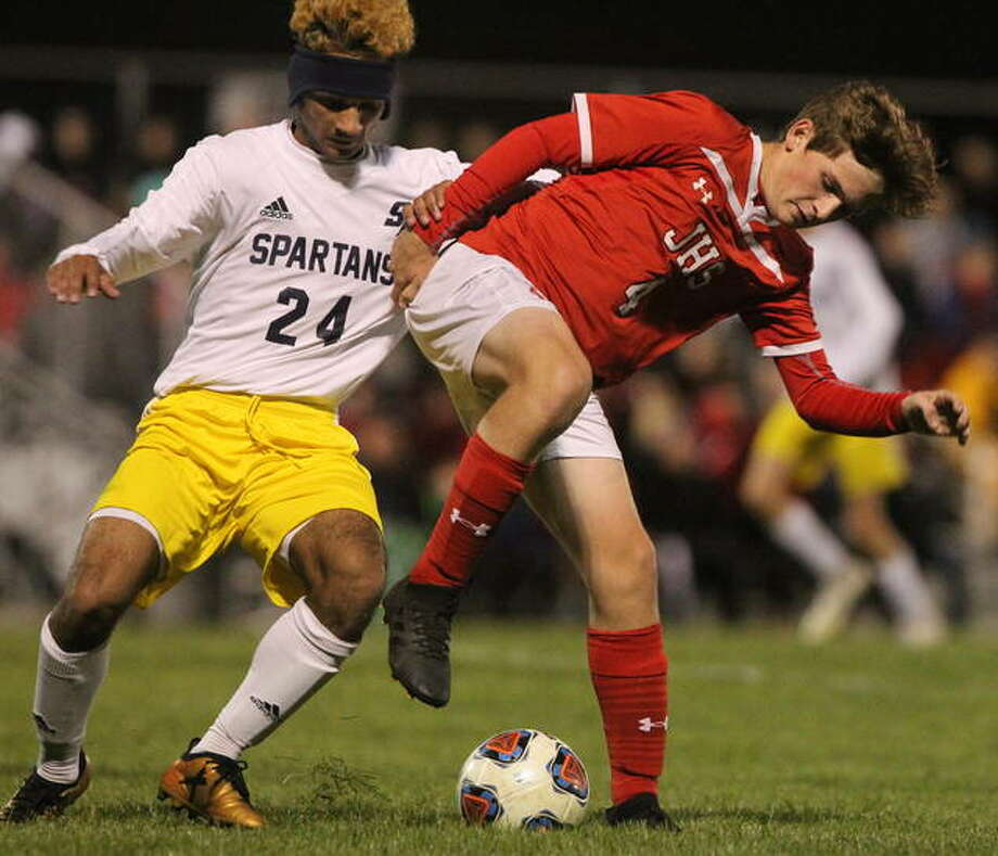 Jacksonville's Aaron Weber controls the ball during a match against Springfield Southeast Tuesday night. Photo: Dennis Mathes | Journal-Courier