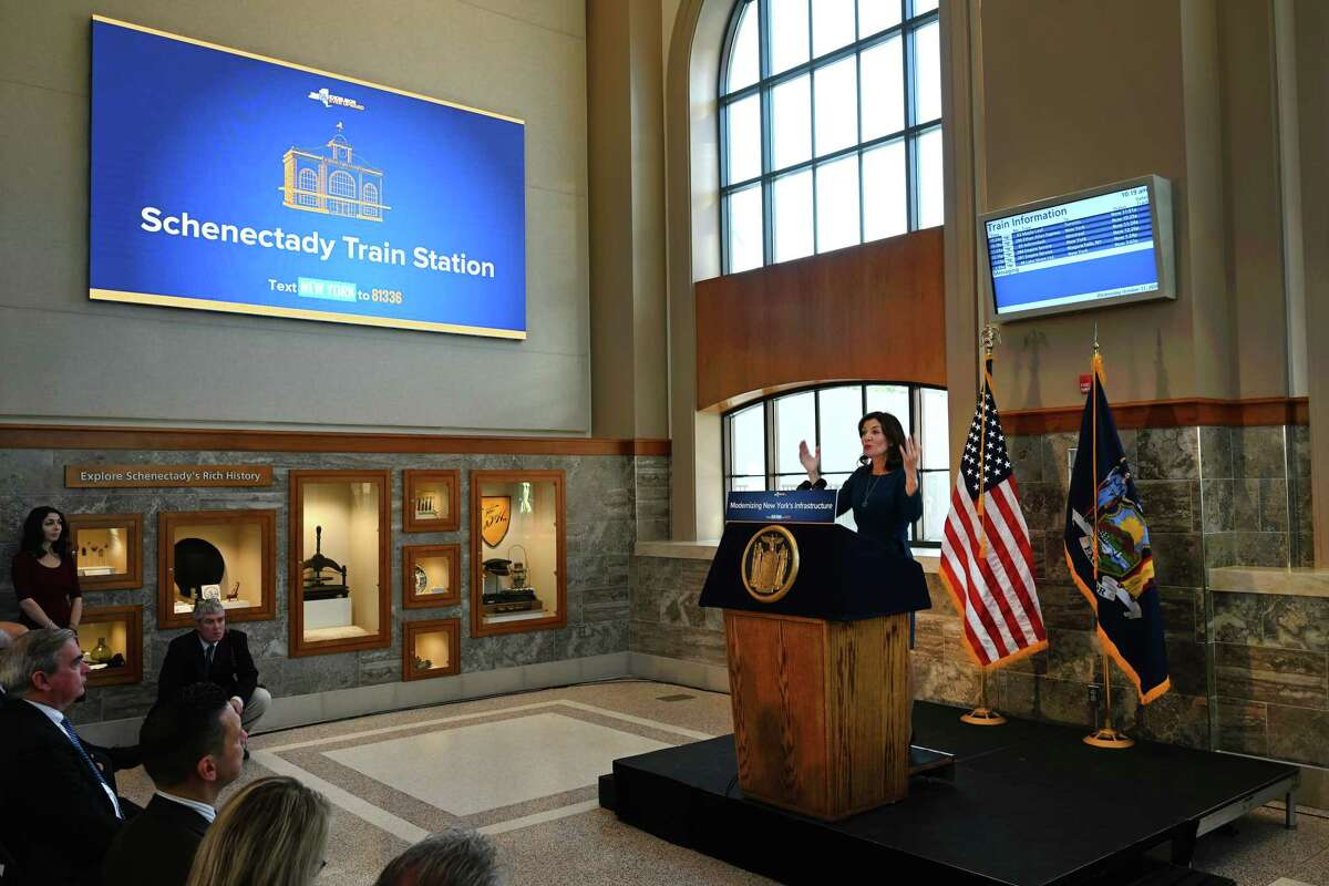 Lt. Governor Kathy Hochul speaks at the opening of the new Schenectady train station officially opened Wednesday Oct.17, 2018 in Schenectady, N.Y. (Skip Dickstein/Times Union)