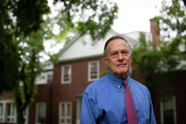 William R. Fitzsimmons, dean of admissions and financial aid, outside the Office of Admissions at Harvard University.
