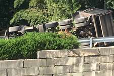 A truck rollover has closed part of Sheehan Avenue Wednesday morning. The truck that struck a utility police after 10 a.m. has taken down some overhead lines.