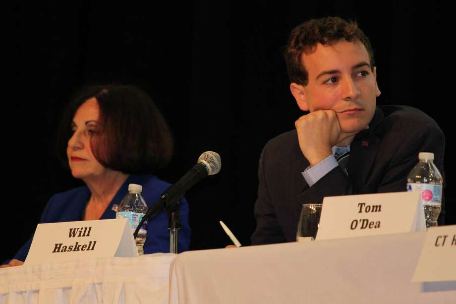 State Sen. Toni Boucher and challenger Will Haskell faced off for the second time at at town hall-style forum at Middlebrook School on Tuesday, Oct. 16, 2018. Photo: Pat Tomlinson / Hearst Connecticut Media