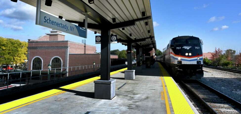 A train stops briefly on opening day of the new Schenectady train station officially opened Wednesday Oct.17, 2018 in Schenectady, N.Y. (Skip Dickstein/Times Union)