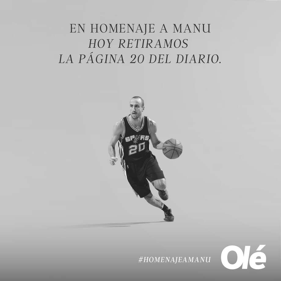 Ole, Argentina's largest sports daily, paid tribute to Manu Ginobili by leaving its page 20 largely blank Wednesday except for a photo and touching words. Photo: Ole