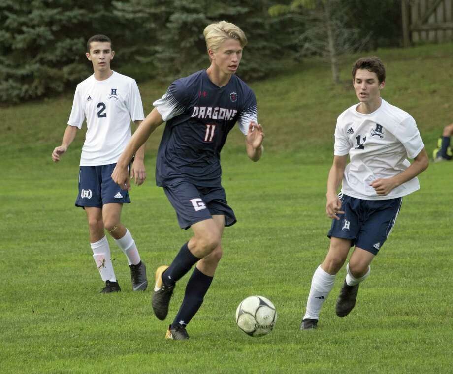 Greens Farms Academy boys soccer player Jack Ramsay, a resident of Darien, dribbles the ball during a game earlier this season. Photo: Contributed Photo / Darien News contributed
