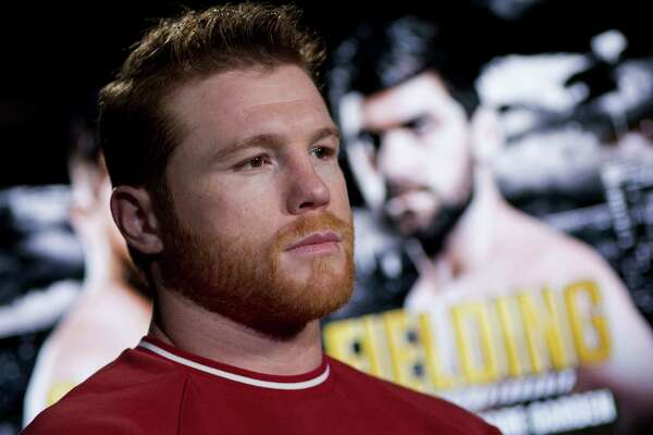 Canelo Alvarez is interviewed, Tuesday, Oct. 16, 2018, in New York. Alvarez is scheduled to fight WBA super middleweight boxing champion Rocky Fielding in New York in December.