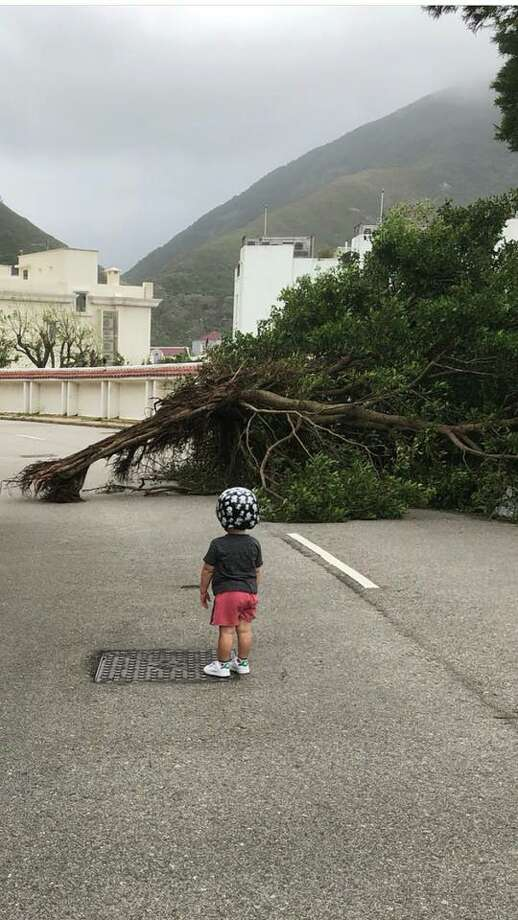 Knapp's 2 year-old-grandson Nash surveying some of the damage after Typhoon Mangkhut slammed into Hong Kong last month. Photo: Alicia Wieser