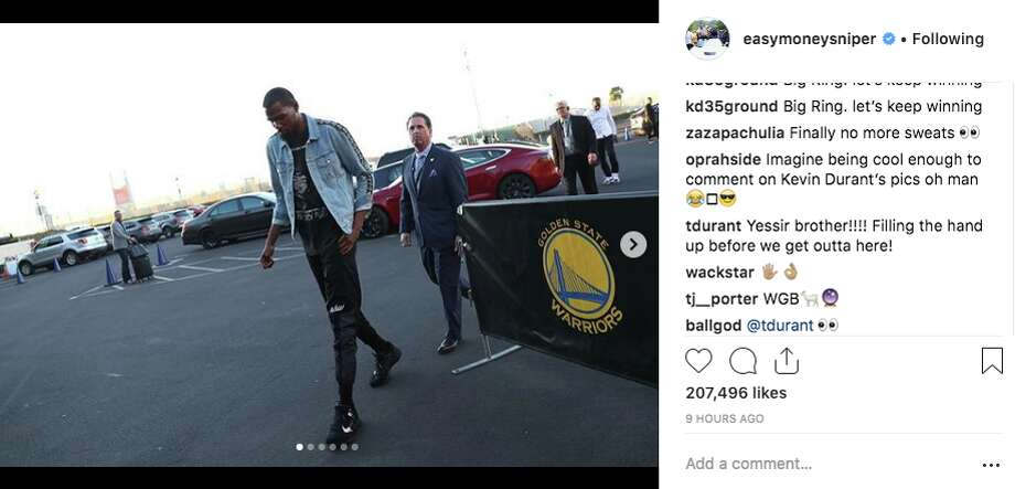 Innocent comment or hint about Kevin Durant's future?  Photo: Screenshot Via Easymoneysniper Instagram