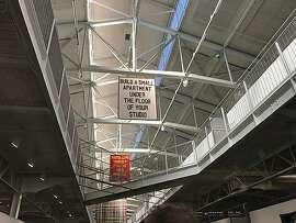 Looking up, at SFAI studios, at 50th anniversary Whole Earth Catalog rites