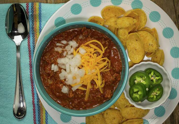 Texas Chile Con Carne adapted from a recipe by former food editor and cookbook author Dotty Griffith is made using coarsely ground sirloin and a dried chile paste.