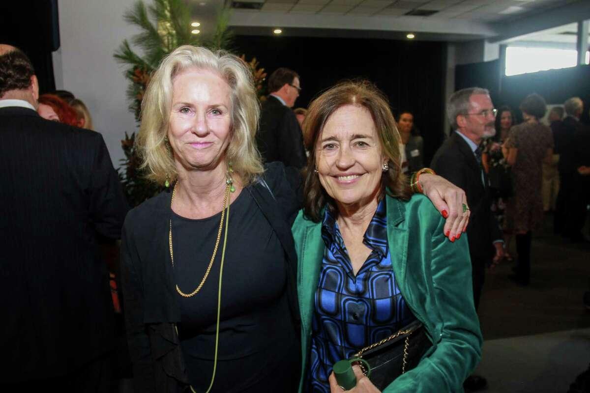 Kim Clark Renteria, left, and Andrea White at the Houston Parks Board's annual luncheon.