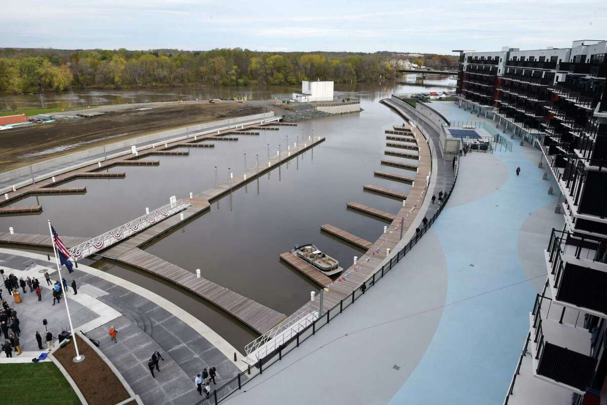 The Mohawk Harbor Marina in Schenectady is the signature element of a $480 million mixed-use development that includes 50 boat slips, amphitheater, and kayak launch. (Will Waldron/Times Union)