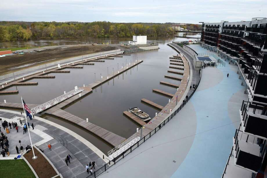 The Mohawk Harbor Marina in Schenectady is the signature element of a $480 million mixed-use development that includes 50 boat slips, amphitheater, and kayak launch. (Will Waldron/Times Union) Photo: Will Waldron, Albany Times Union / 20042014A