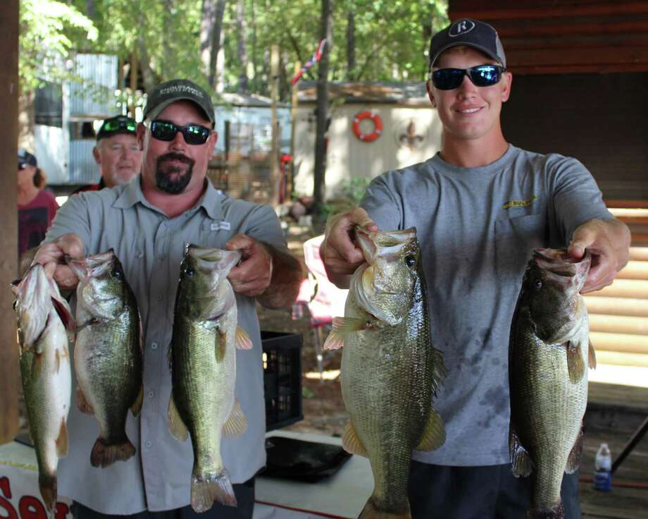 Garrett Pierce and Colin Bode won the 11th Seven Coves Bass Club Fall Bass Classic with a five fish total weight of 17.45 pounds. Photo: Conroe Bass