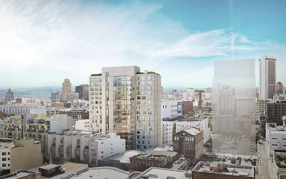 An artist's rendering of a 270-unit building planned for Minna and Fifth Streets in the SoMa area of San Francisco. The developer, Starcity, will be selling the property.