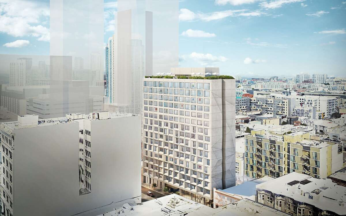 Artist's rendering shows a new 270-unit building planned for Minna and Fifth Streets in the SoMa area of San Francisco. The developer, Starcity, is a local startup that converts commercial buildings into entry-level housing.